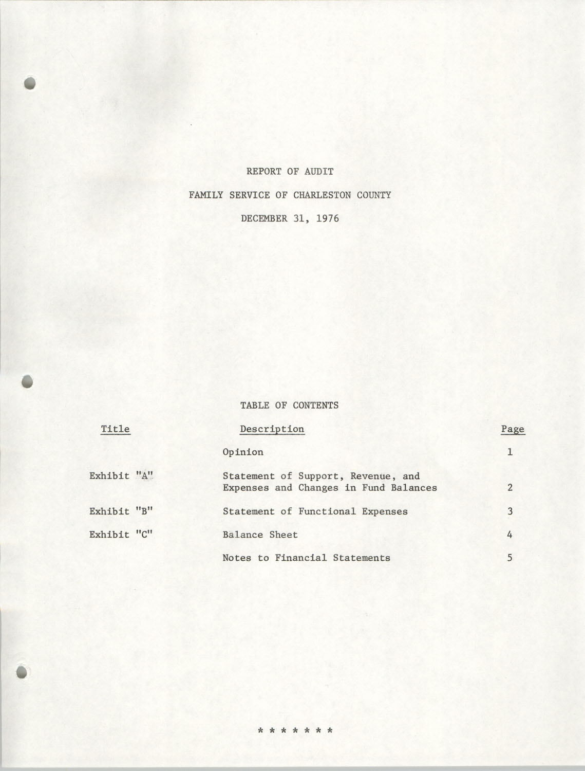 Report of Audit, Family Service of Charleston County, December 31, 1976