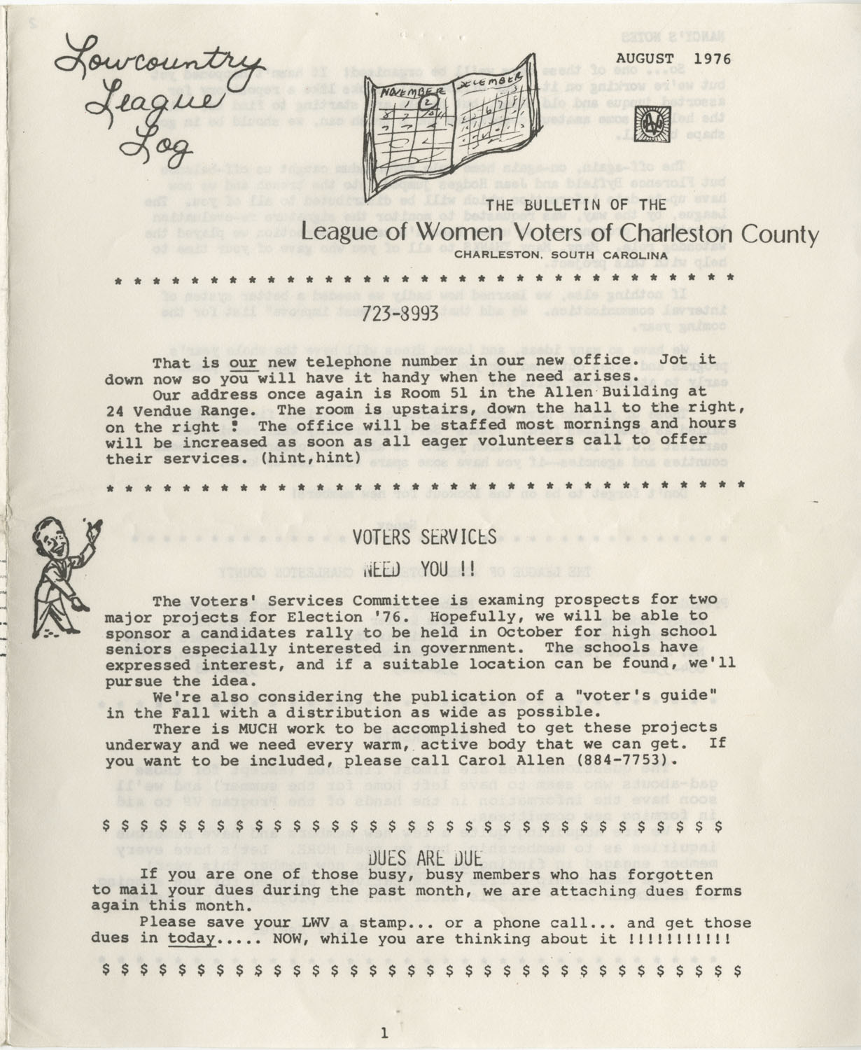 Lowcountry League Log, League of Women Voters of Charleston County Bulletin, August 1976