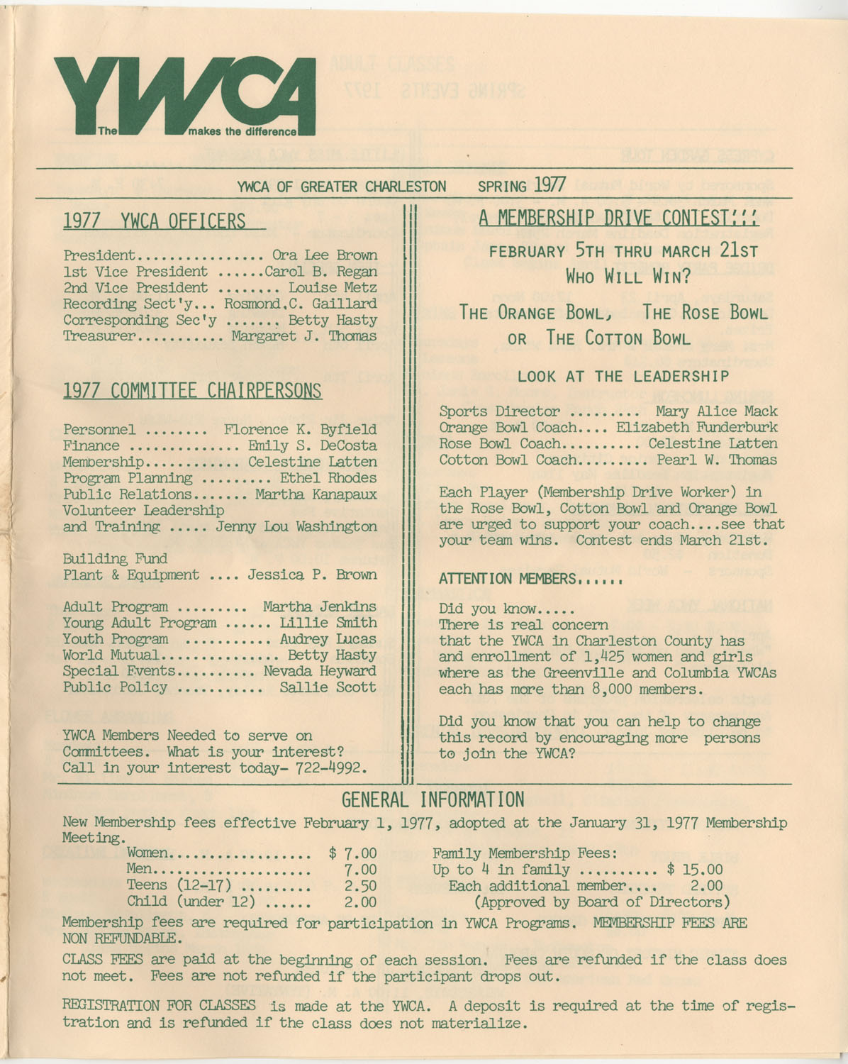 Newsletter, YWCA of Greater Charleston, Spring 1977