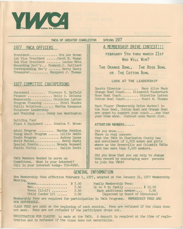 Newsletter, YWCA of Greater Charleston, Spring 1977