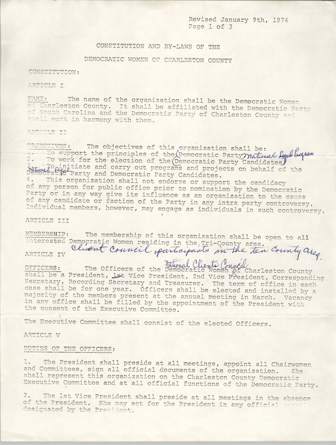 Constitution and By-Laws of the Democratic Women of Charleston County, January 9, 1974