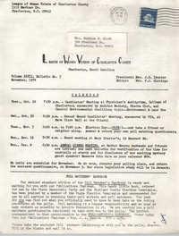 League of Women Voters of Charleston County, Volume XXVII, Bulletin No. 3, November 1974