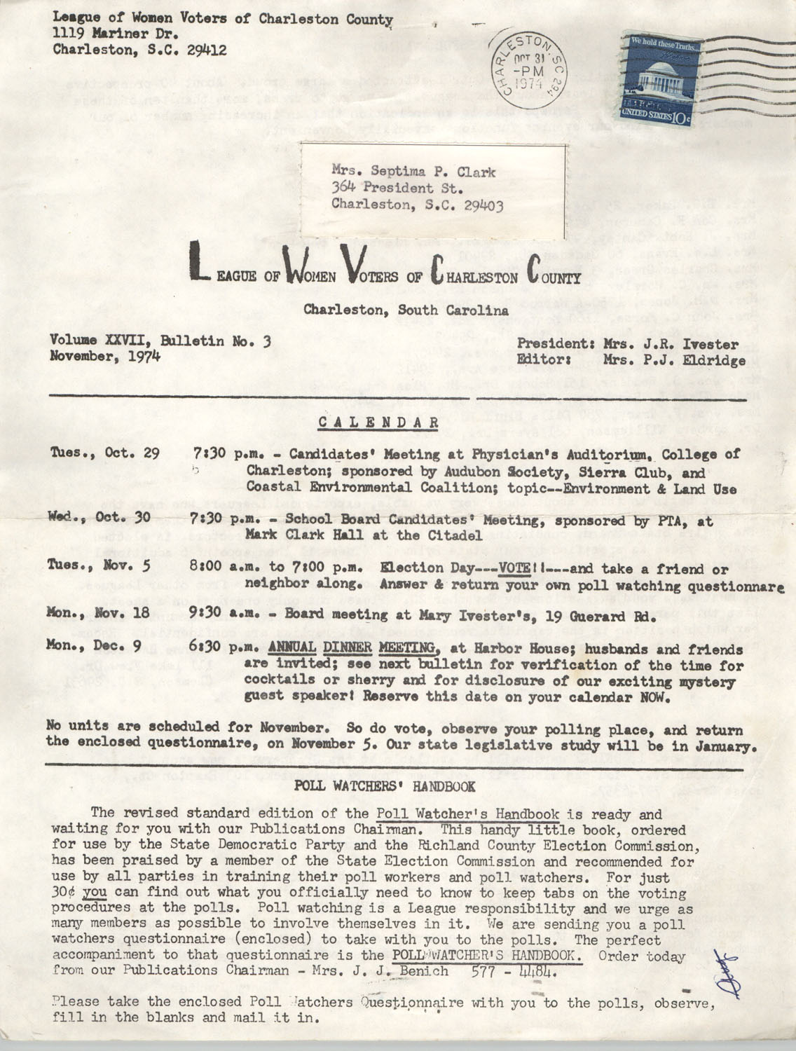 League of Women Voters of Charleston County, Volume XXVII, Bulletin No. 3, November 1974