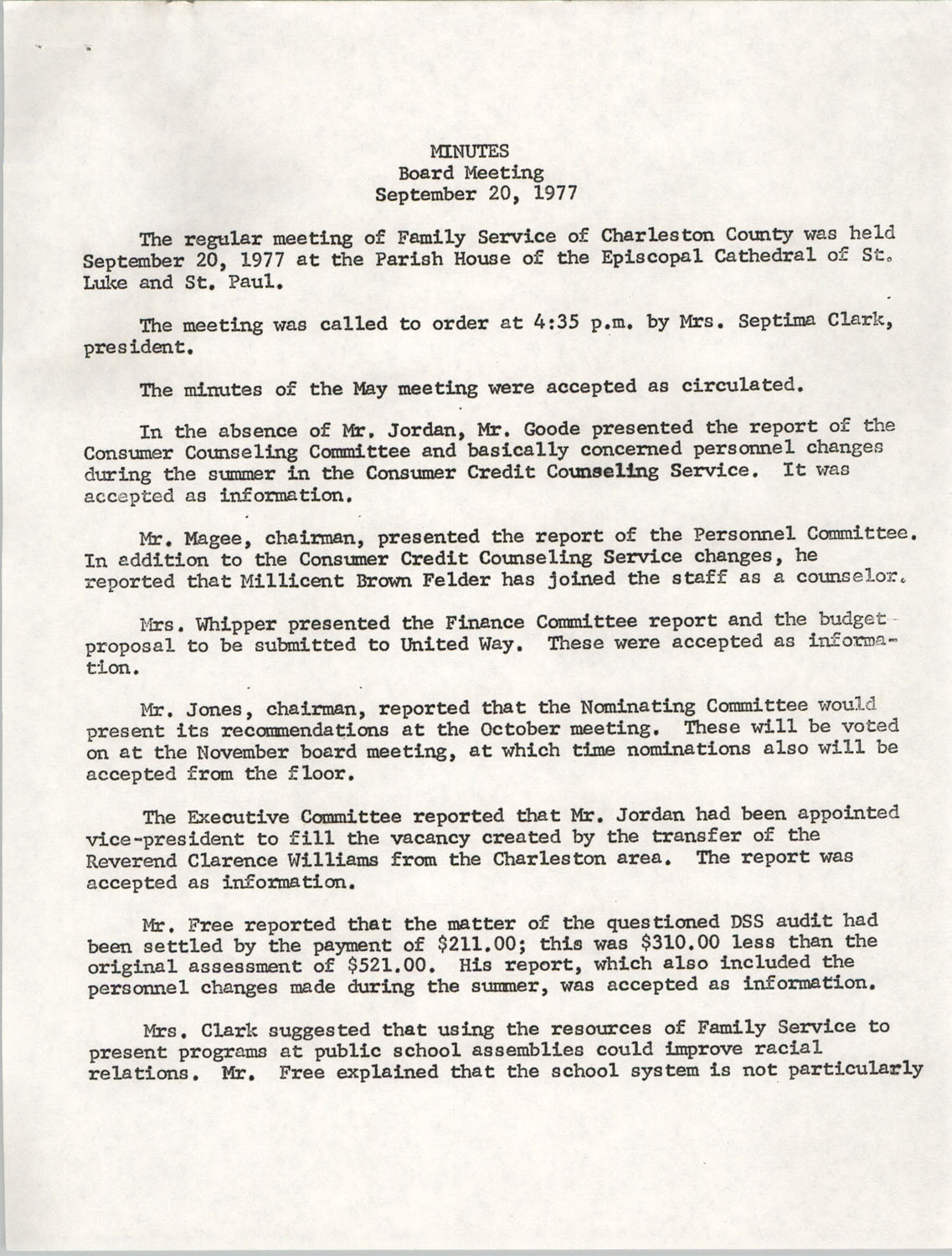 Minutes, Family Service Board Meeting, September 20, 1977