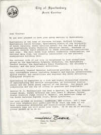 Letter from John G. Baehr to