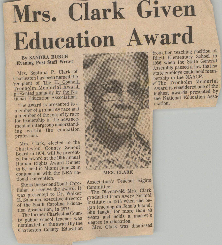 Newspaper Article, H. Councill Trenholm Memorial Award