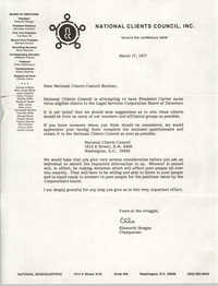 Letter from Ellsworth Morgan to National Clients Council Member, March 17, 1977