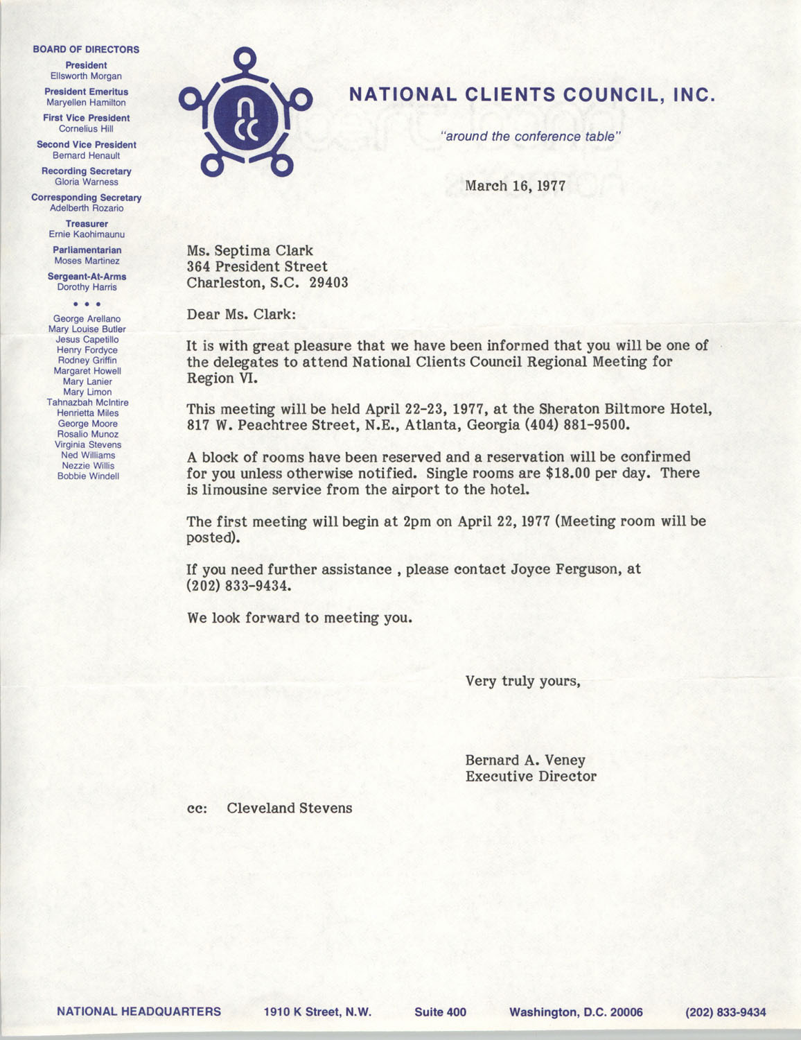 Letter from Bernard A. Veney to Septima P. Clark, March 16, 1977
