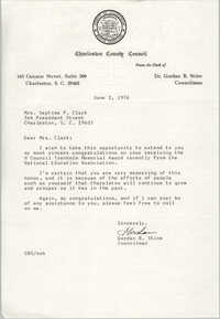 Letter from Charleston County Councilman Gordan B. Stine to Septima P. Clark, June 2, 1976