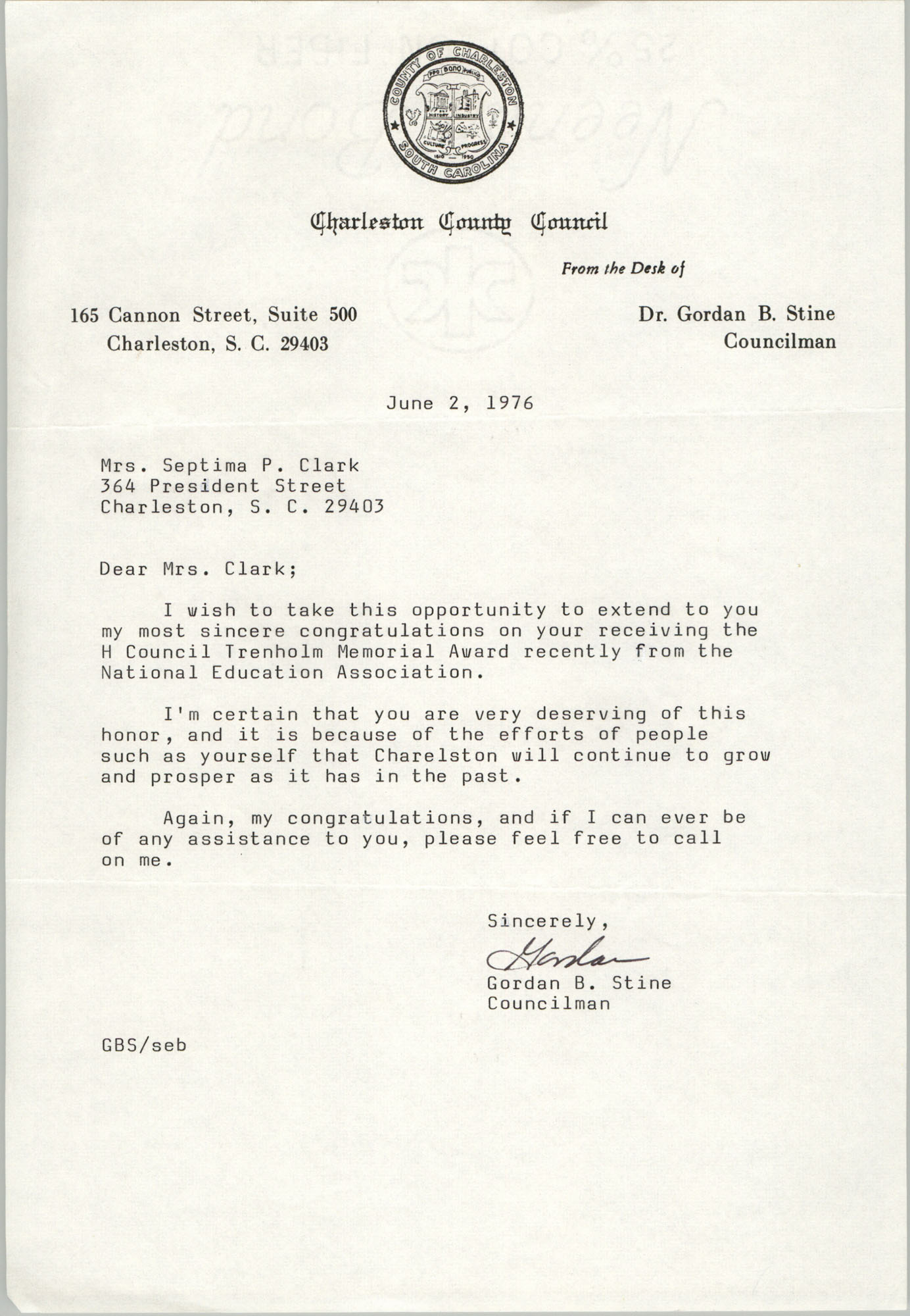 Letter from Charleston County Councilman Gordan B. Stine to Septima P. Clark, June 2, 1976