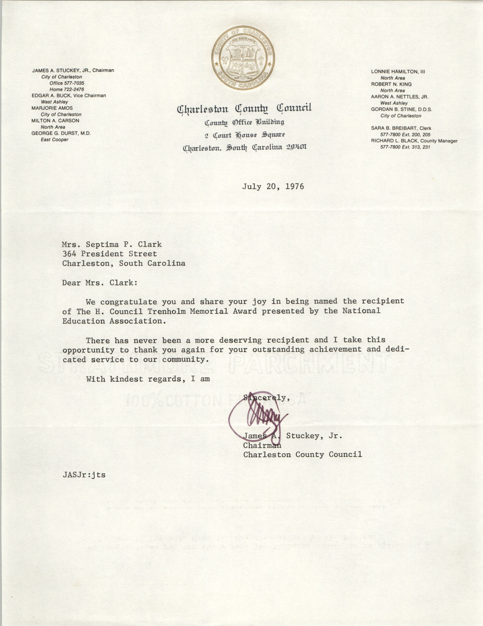 Letter from James A. Stuckey to Septima P. Clark, July 20, 1976