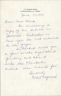 Letter from Ethel Nepveux to Septima P. Clark, June 10, 1976