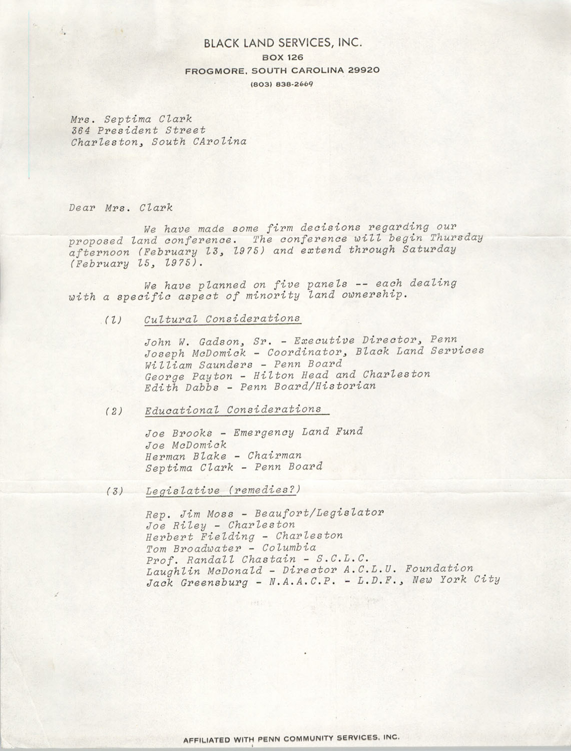 Letter from C. Scott Graber to Septima P. Clark, 1975