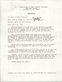 Memorandum from John R. Harper II to Black Elected Officials, April 22, 1978