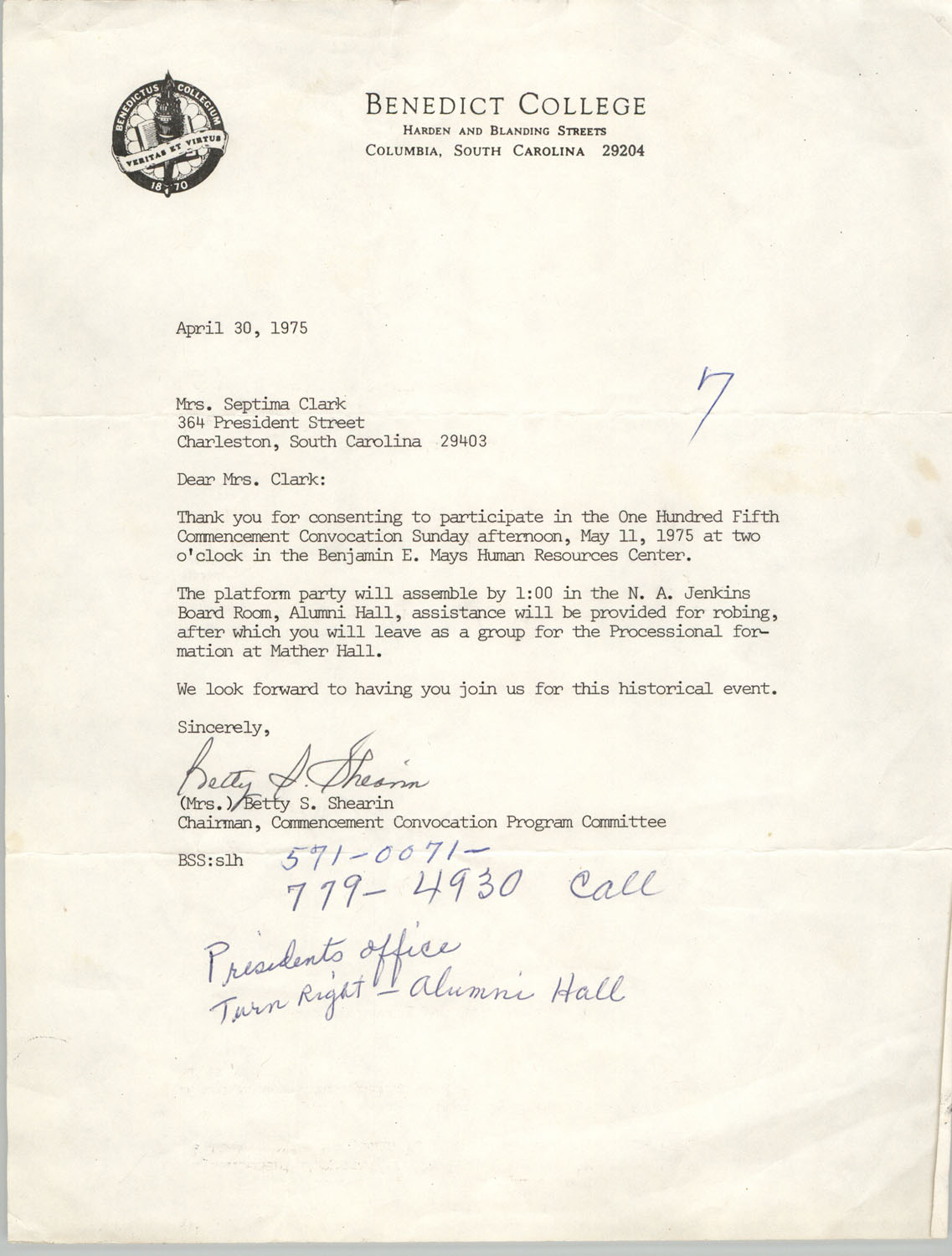 Letter from Betty S. Shearin to Septima P. Clark, April 30, 1975