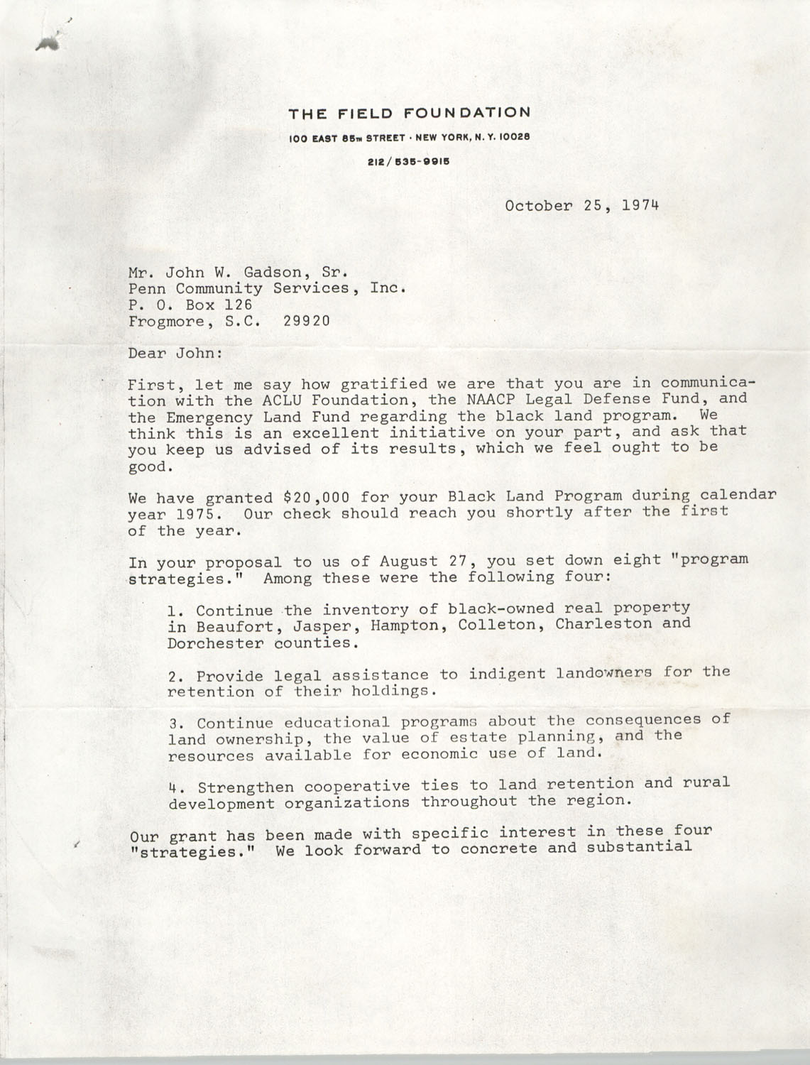 Letter from Leslie W. Dunbar to John W. Gadson, Sr., October 25, 1974