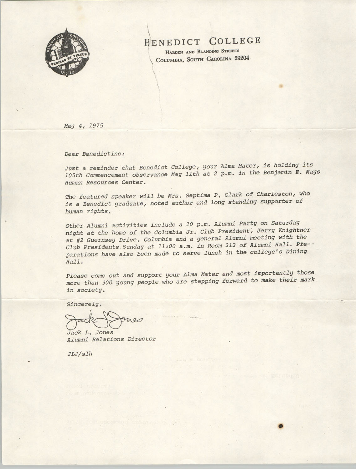 Letter from Jack L. Jones to Septima P. Clark, May 4, 1975