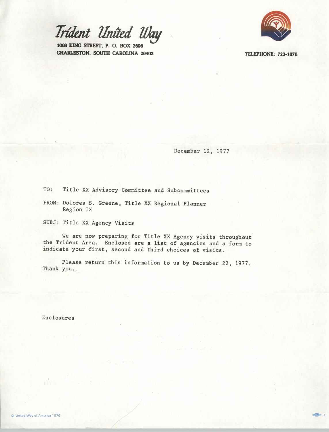 Memorandum from Dolores S. Greene to Title XX Advisory Committee and Subcommittees, Trident United Way, December 12, 1977