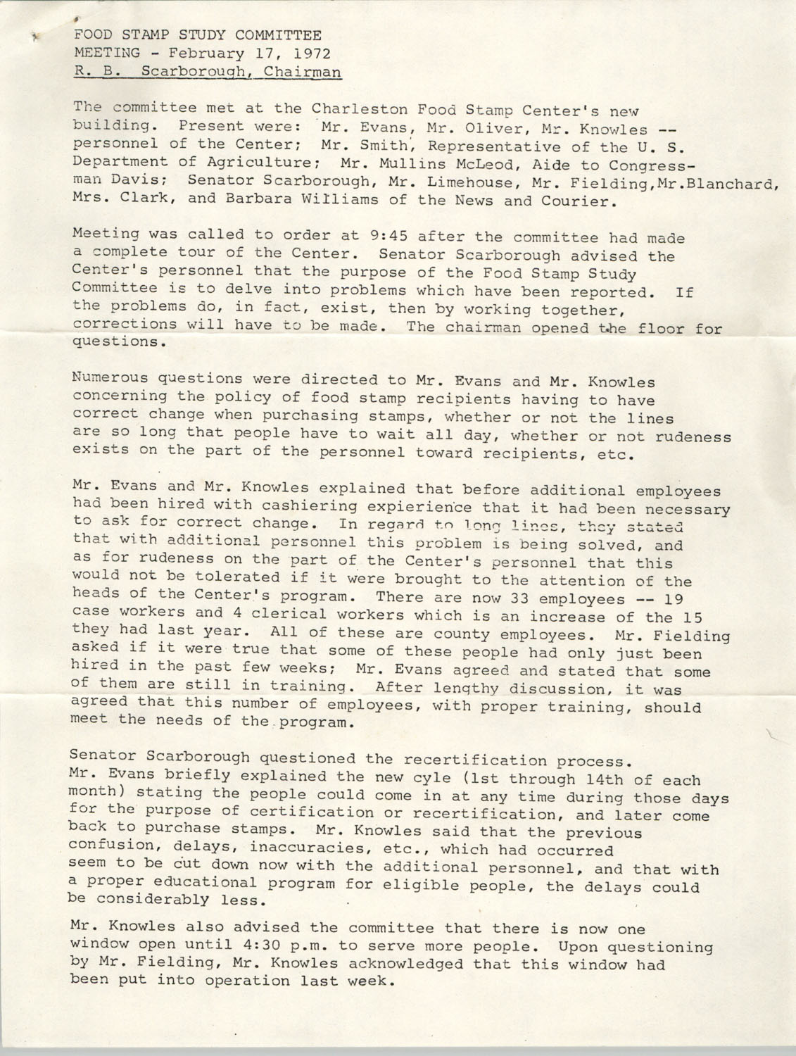 Minutes, Food Stamp Study Committee, February 17, 1972