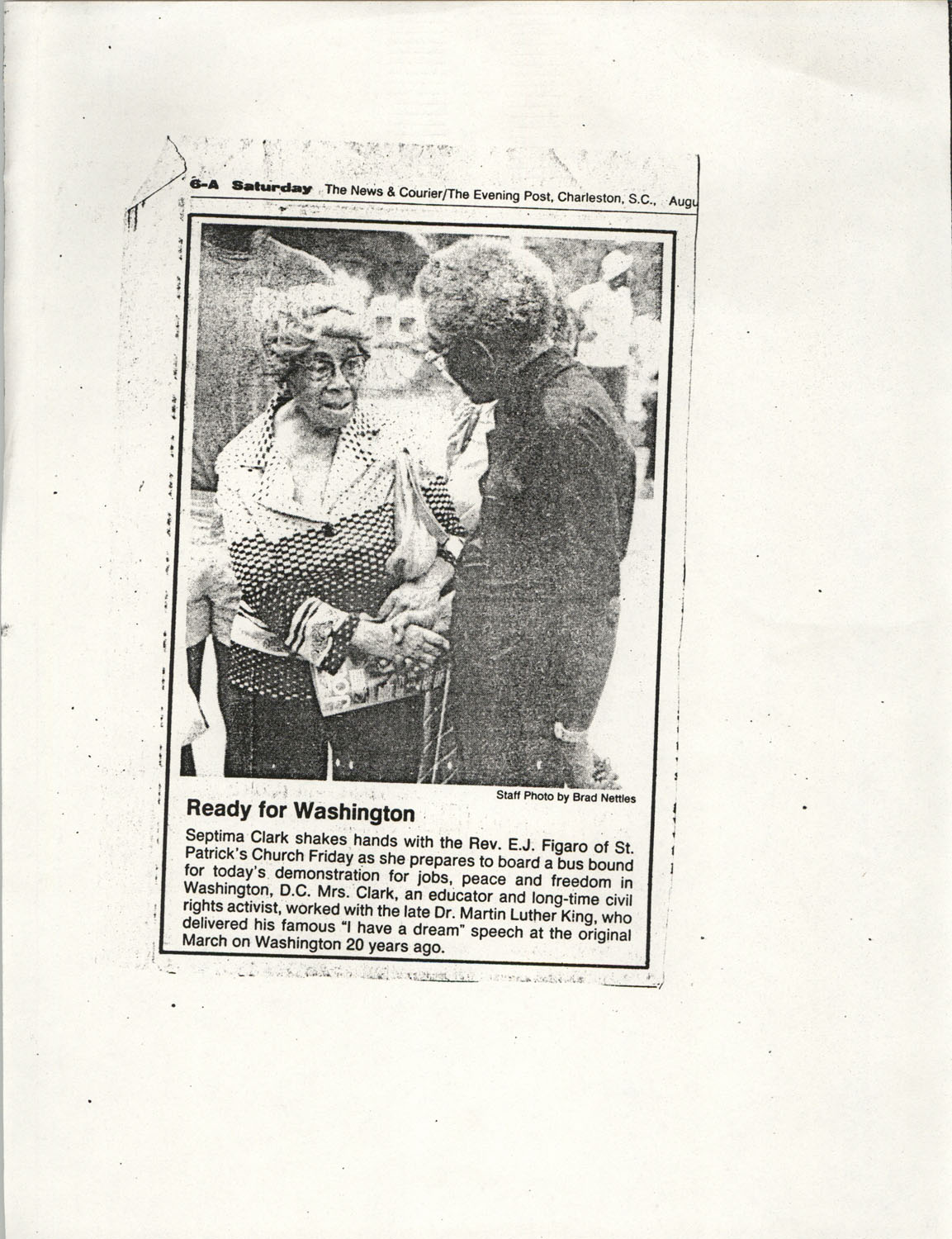 Newspaper Article, Washington D.C. Demonstration