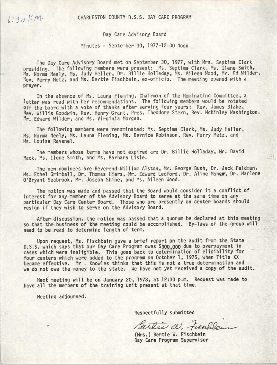 Minutes, Charleston County Department of Social Services Day Care Program, Day Care Advisory Board, September 30, 1977