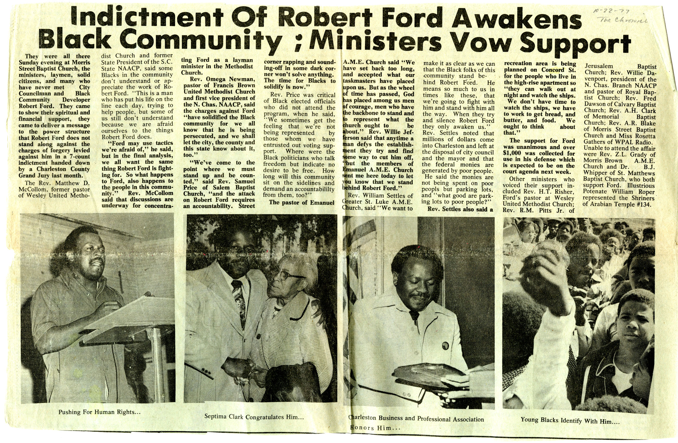 Newspaper Article, October 22, 1977