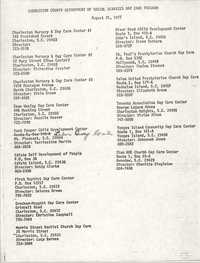 Day Care Center List, Charleston County Department of Social Services Day Care Program, August 31, 1977