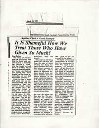 Newspaper Article, March 19, 1983