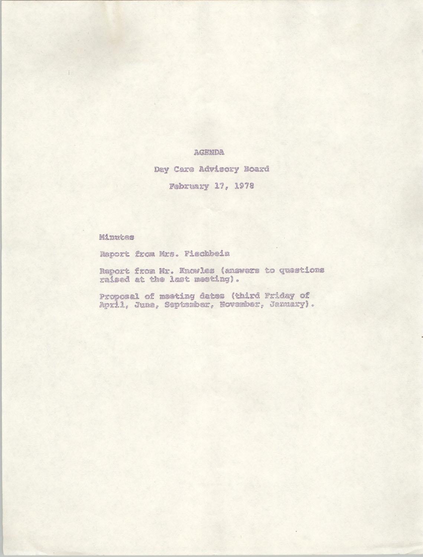 Agenda, Day Care Advisory Board, February 17, 1978