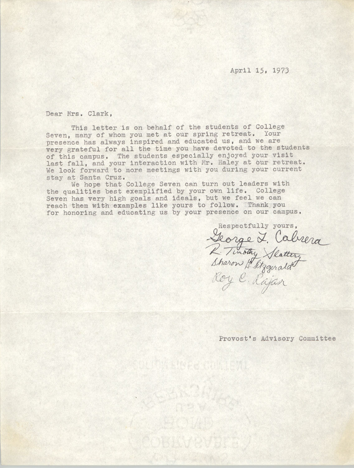 Letter from Provost's Advisory Committee to Septima P. Clark, April 15, 1973