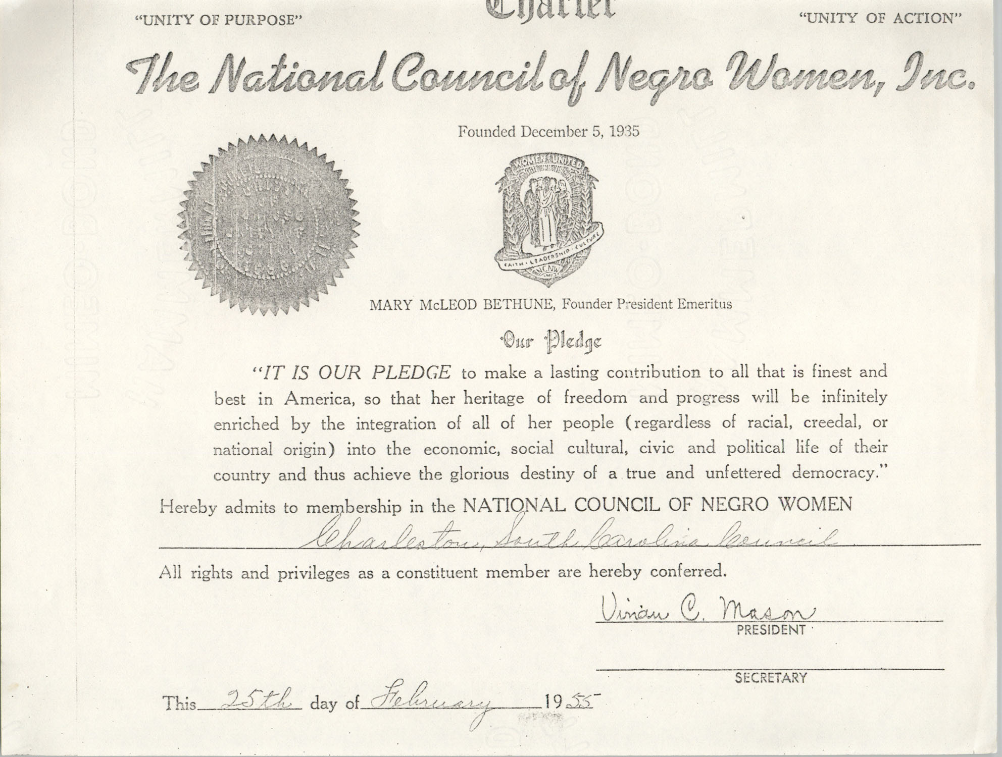 National Council of Negro Women Certificate, February 25, 1955