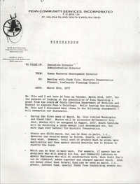 Memorandum from Penn Community Services Human Resource Development Director to Executive Director and Administrative Director, March 18, 1977