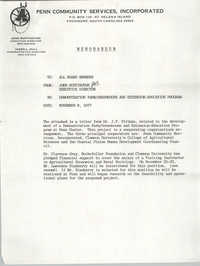 Memorandum from Penn Community Services to Executive Director to All Board Members, November 9, 1977