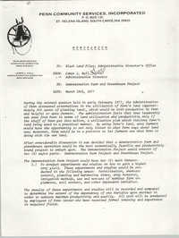 Memorandum from Penn Community Services to Black Land Files Administrative Director's Office, March 18, 1977