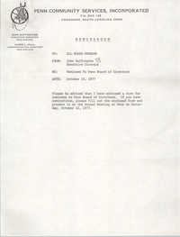 Memorandum from Penn Community Services Director to The Board of Trustees, October 10, 1977