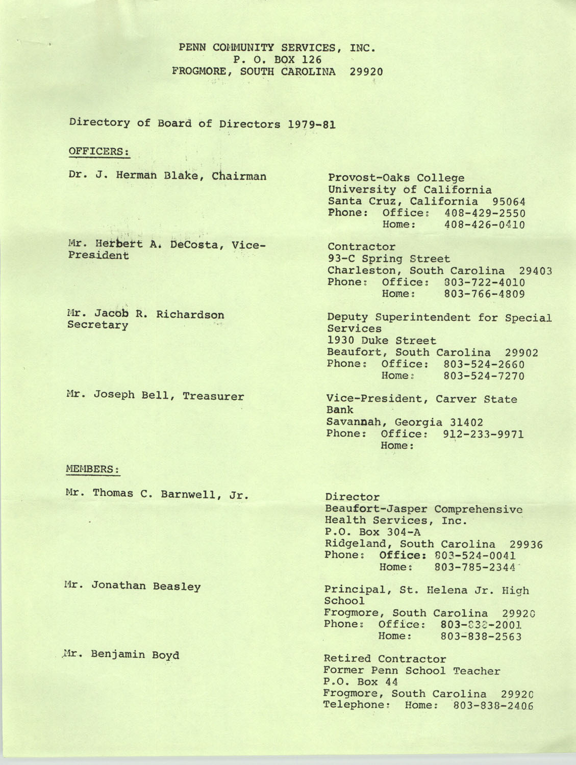 Directory of Board of Trustees, Penn Community Services, 1979-1981