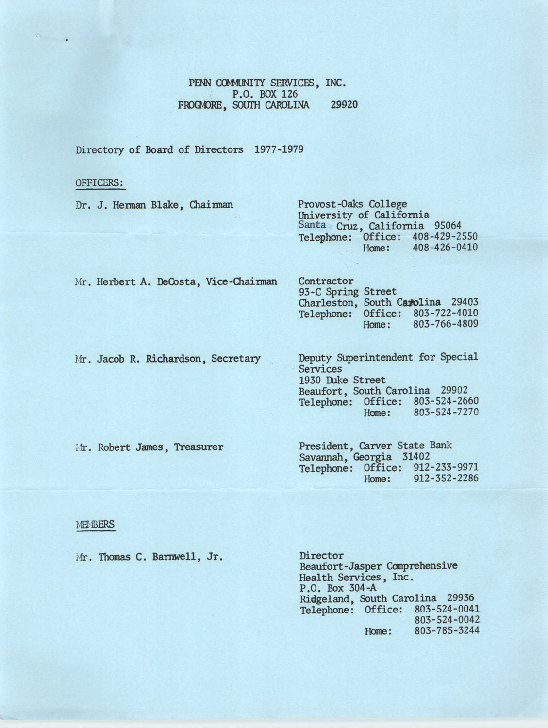 Directory of Board of Trustees, Penn Community Services, 1977-1979