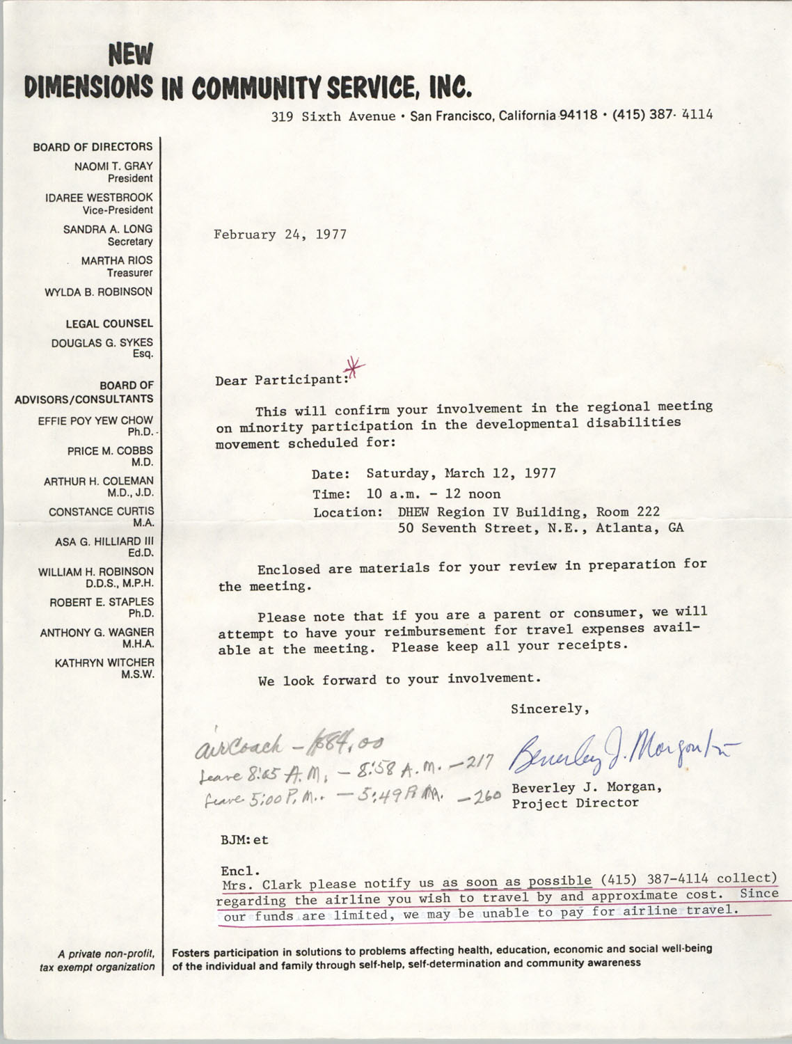 Letter from Beverley J. Morgan to Septima P. Clark, February 24, 1977