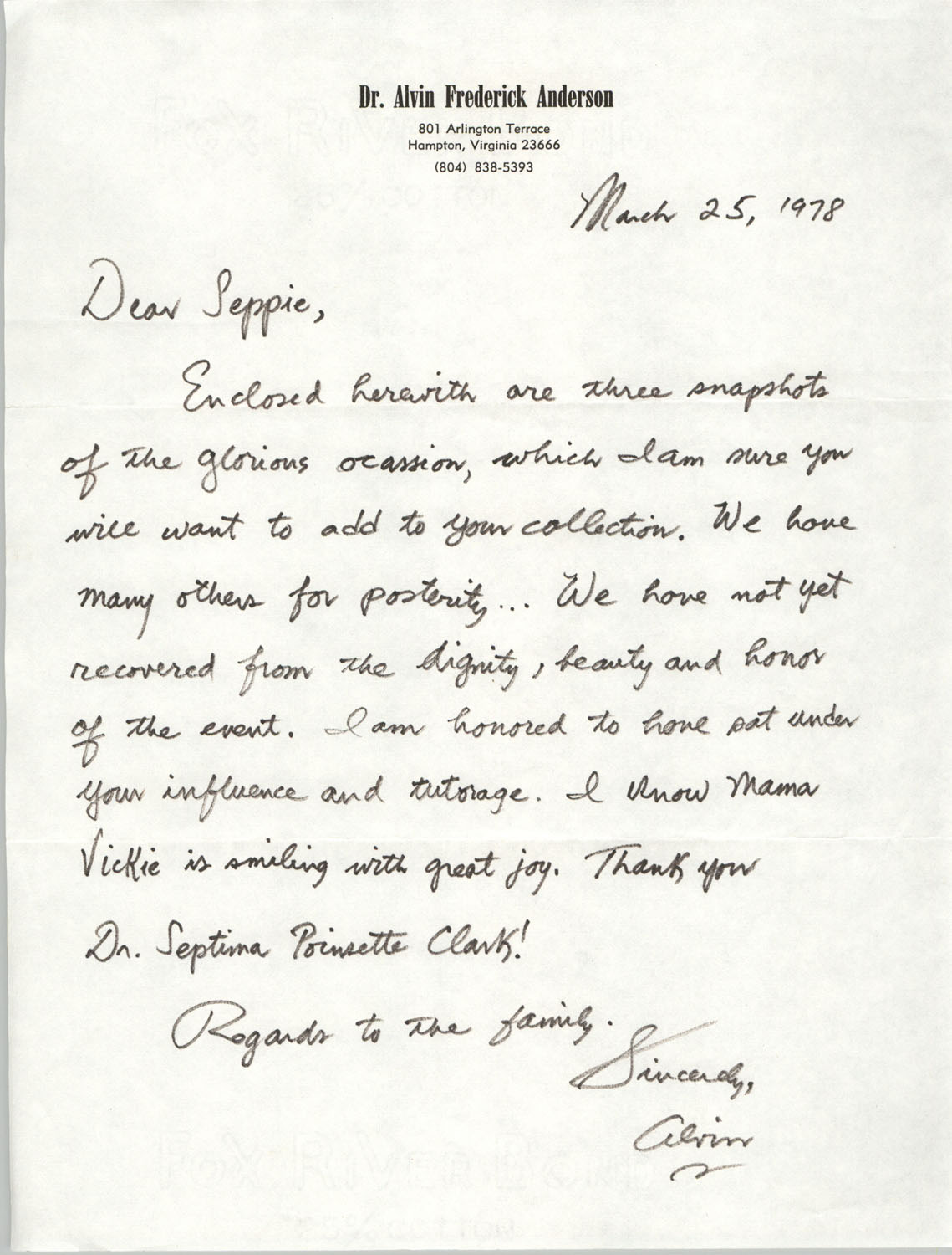 Letter from Alvin Frederick Anderson to Septima P. Clark, March 25, 1978