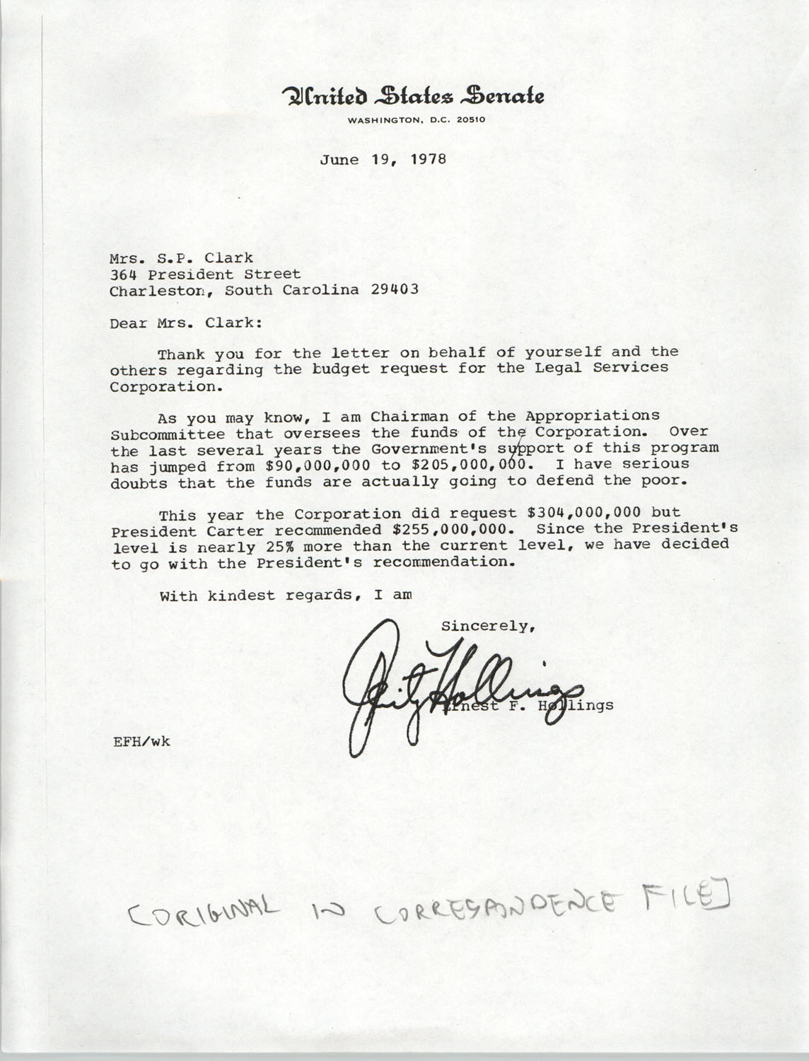 Letter from Ernest F. Hollings to Septima P. Clark, June 19, 1978