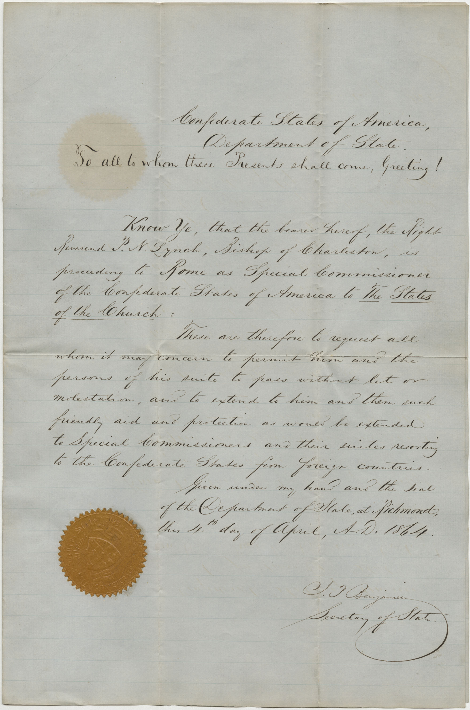 Letter of introduction from J. P. Benjamin for P. N. Lynch