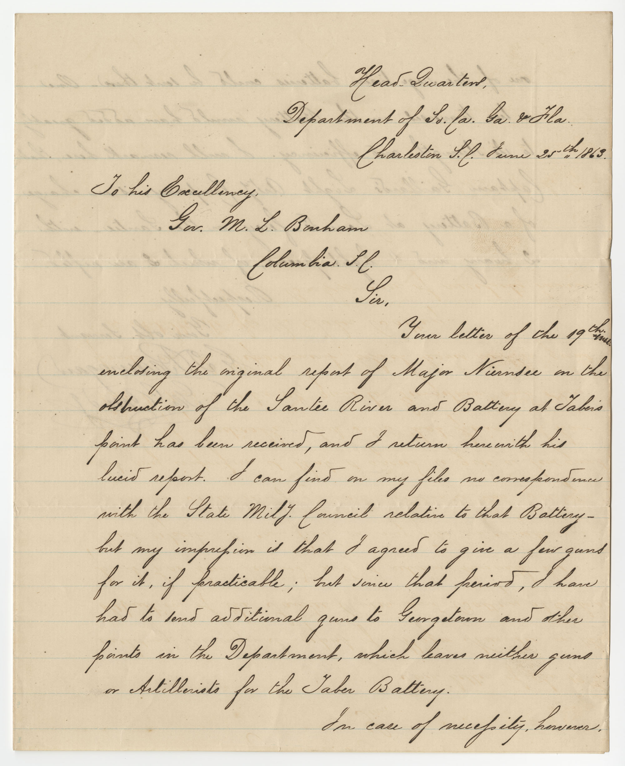 Gen. P. G. T. Beauregard Letter, June 25, 1863