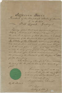 Appointment letter from Jefferson Davis to P. N. Lynch