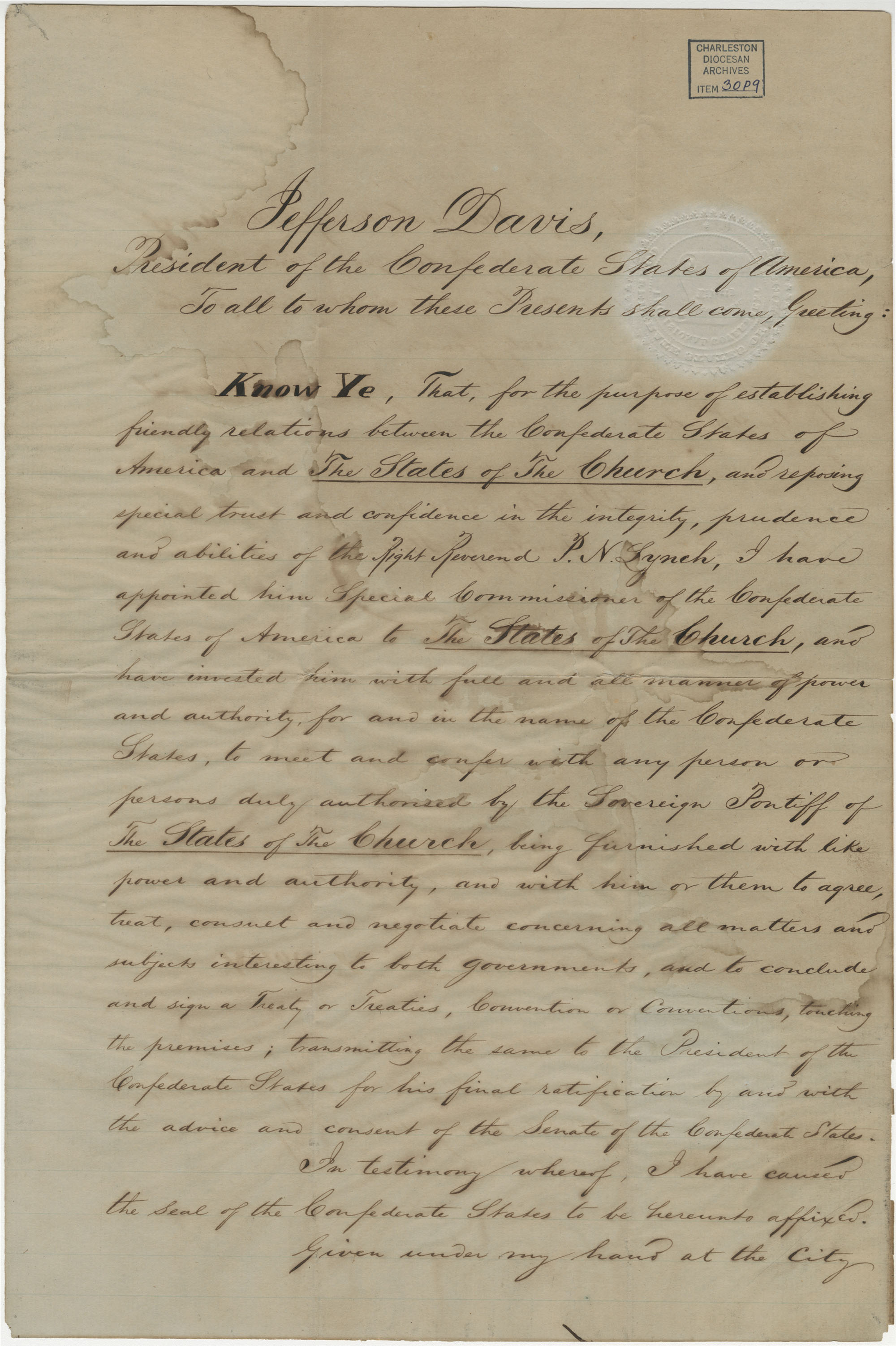 Appointment letter from Jefferson Davis