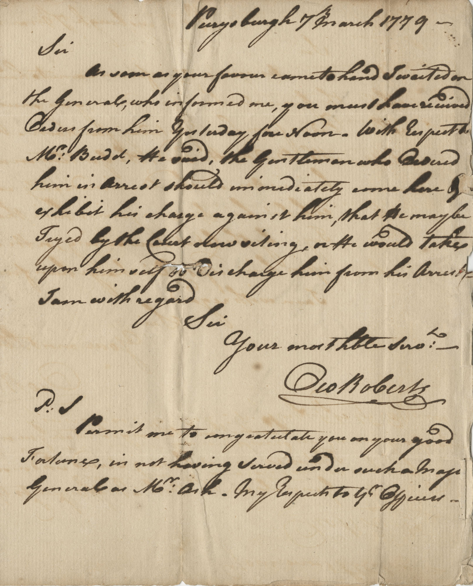 Letter from Colonel Owen Roberts to John F. Grimke, March 7, 1779