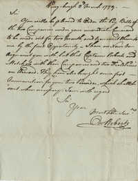Letter from Colonel Owen Roberts to John F. Grimke, March 3, 1779