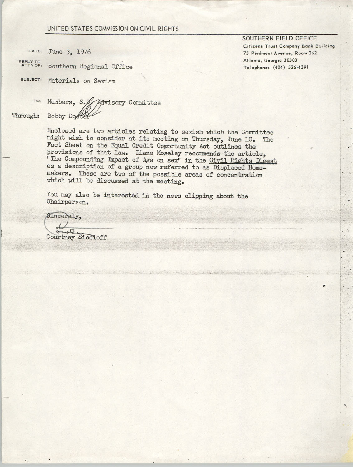 Memorandum from Courtney Siceloff to South Carolina Advisory Committee, June 3, 1976