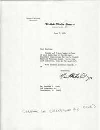 Letter from South Carolina Senator, Ernest F. Hollings to Septima P. Clark, H. Councill Trenholm Memorial Award