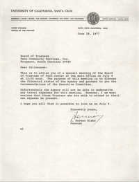 Letter from J. Herman Blake to Board of Trustees, Penn Community Services, June 29, 1977