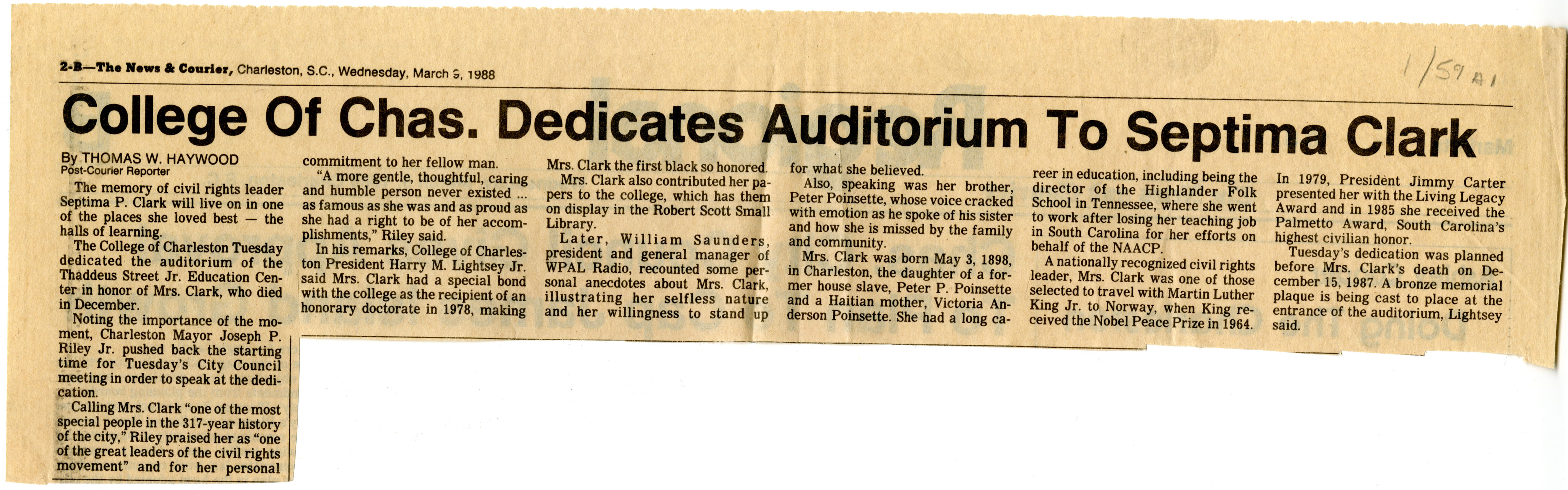 Newspaper Article, March 9, 1988